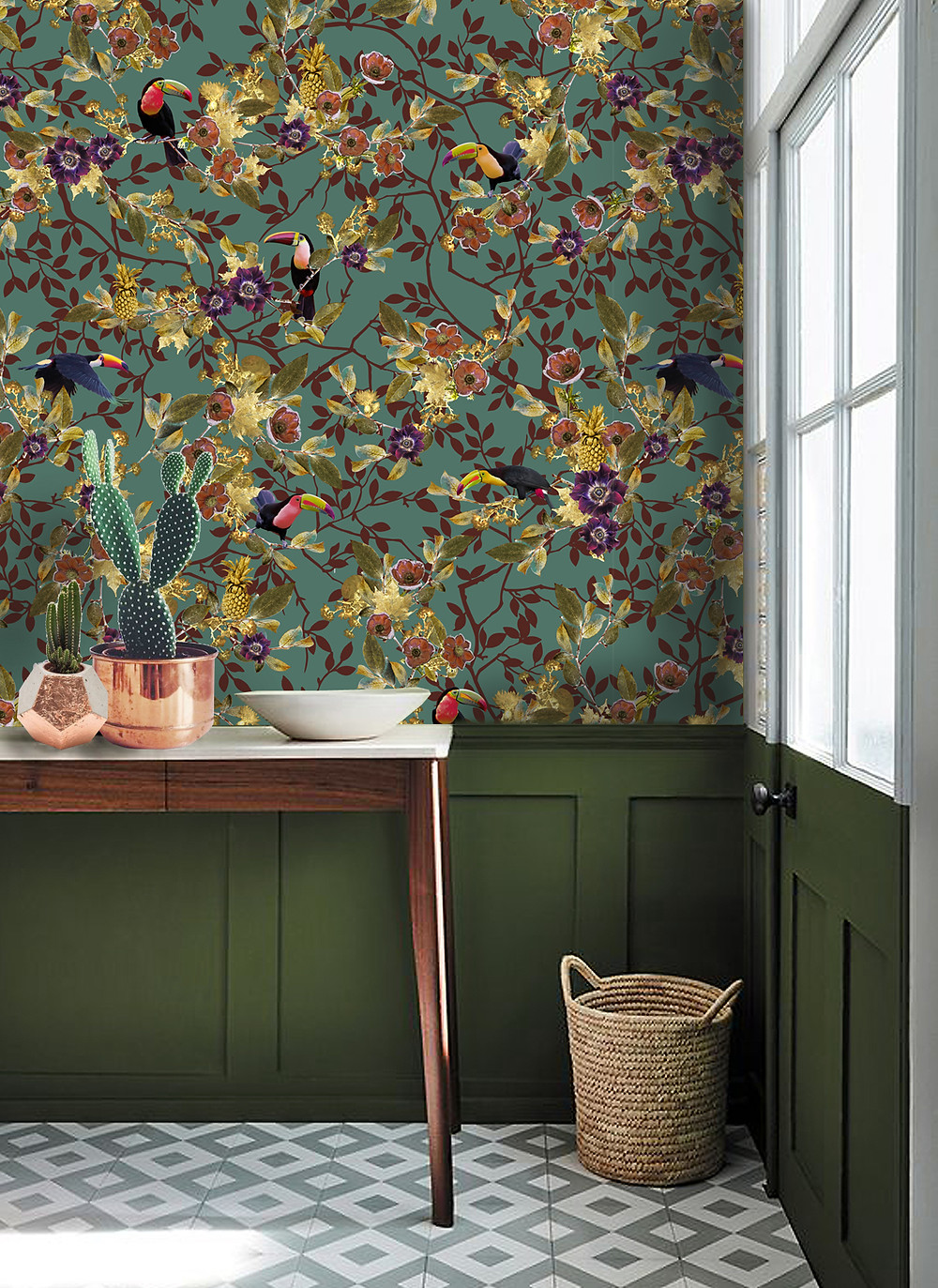 Green interior styling, hallway decor with tropical wallpaper and toucan print