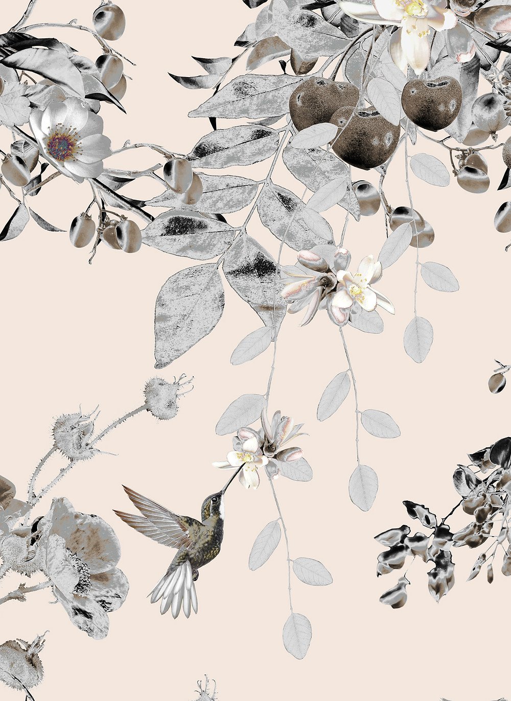 powder interior styling, pattern with hummingbirds and fruits