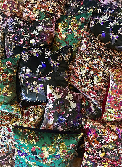 Luxury patterned velvet cushions made of soft British velvet by Good and Craft, Good & Craft