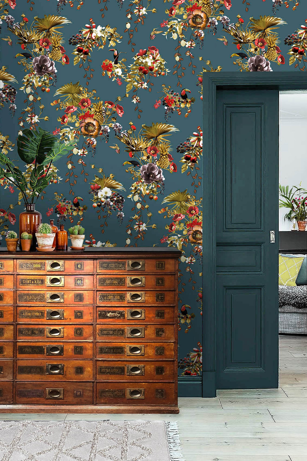 Hallway wallpaper with toucans made of non-woven paper by Good and Craft, Good & Craft wallpaper