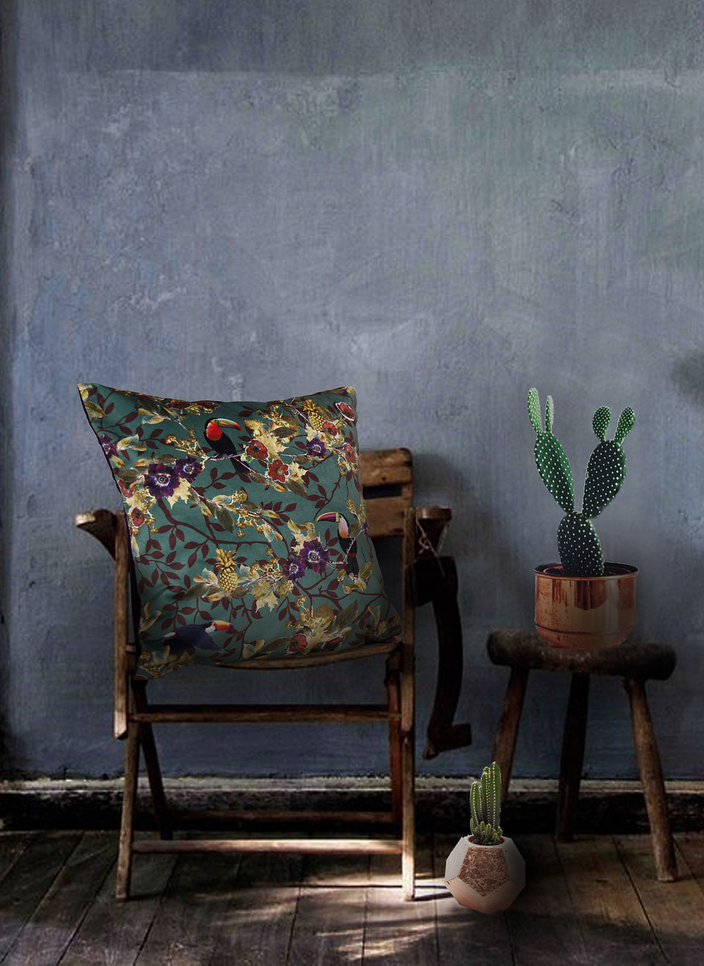 Green interior styling, cushion with toucan print