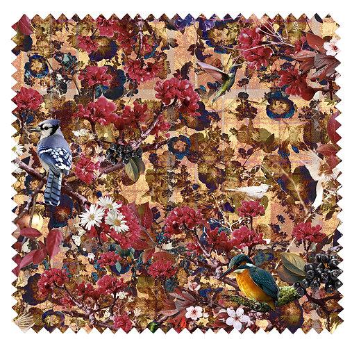 Fabric Sample Velvet - Birds Paradise - Unique