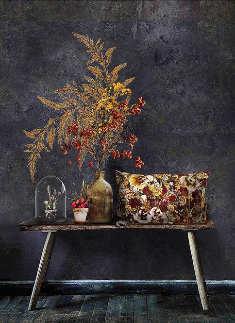 Autumn Bloom - Velvet cushion - Burgundy