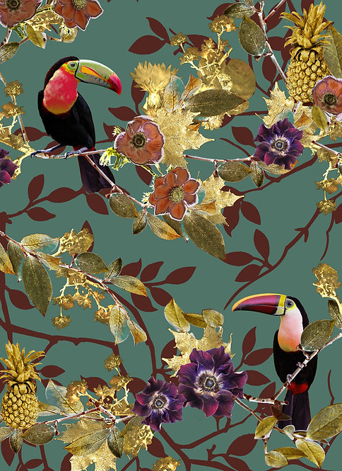 Emerald Green Toucan wallpaper print for tropical wallpaper by Good and Craft, Good & Craft