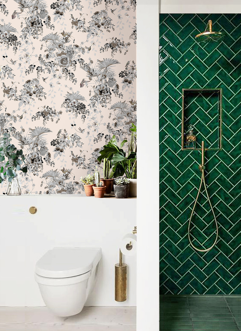Floral Wallpaper with hummingbirds in bathroom by Good and Craft