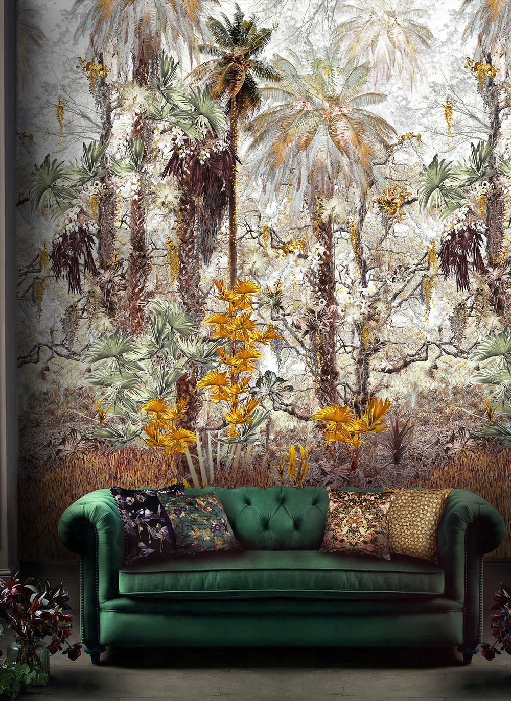 rainforest jungle mural by Good & Craft in living room with green velvet sofa, Good and Craft