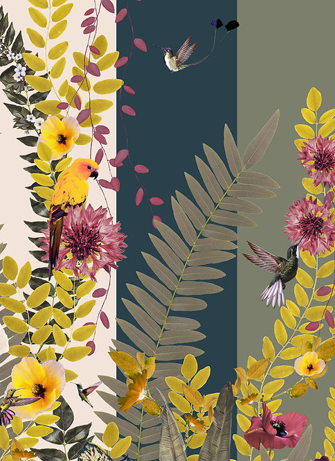 Rainforest wallpaper with parrots for Jungle Mural Wallpaper by Good and Craft, Good & Craft