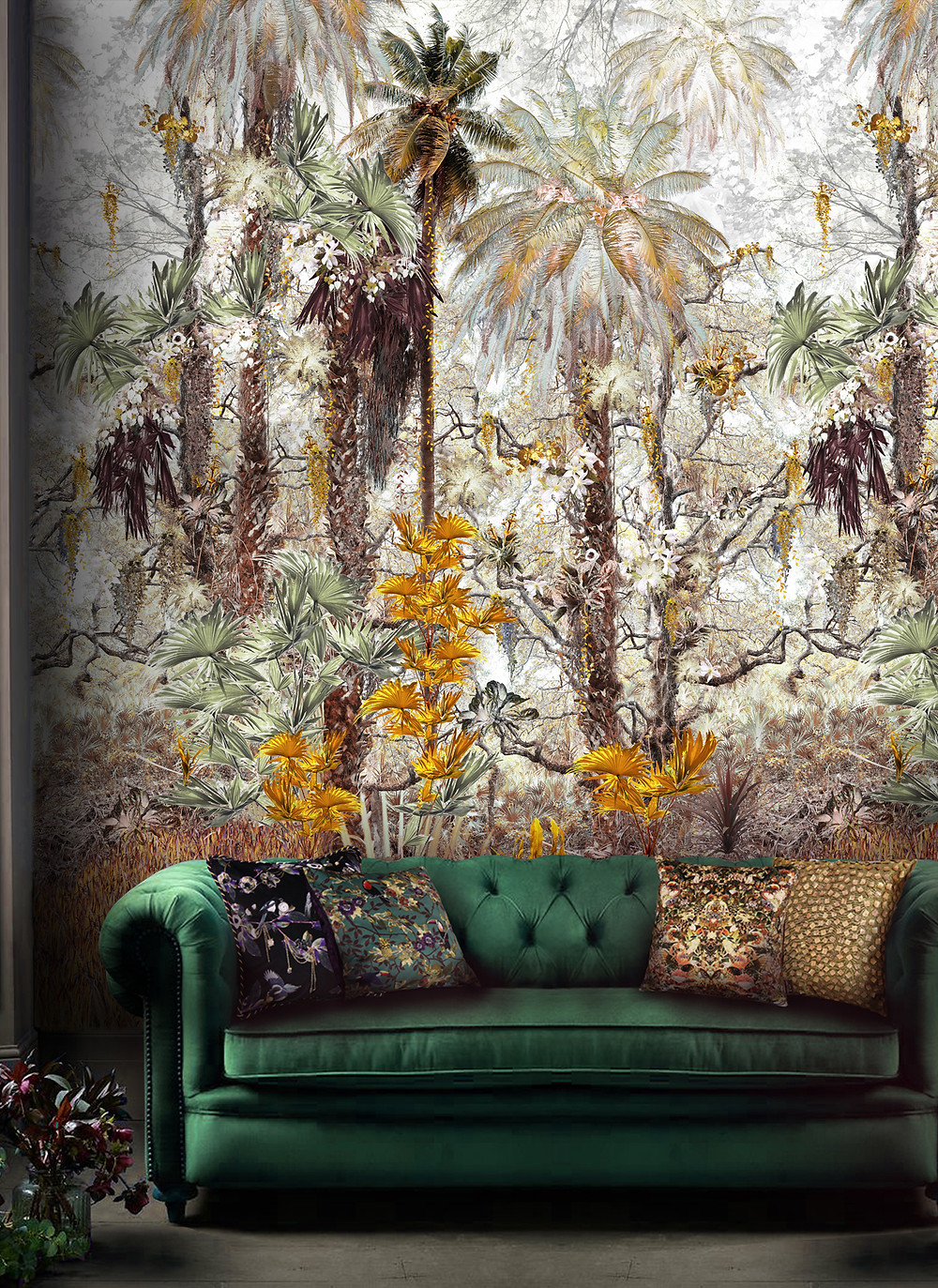 Jungle Mural Wallpaper by Good and Craft in living room with rainforest print and green velvet sofa