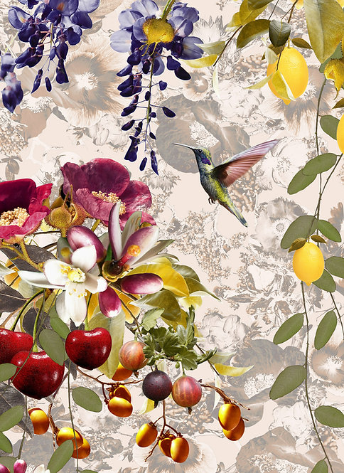 Floral wallpaper with hummingbirds and berries by Good and Craft, Good & Craft