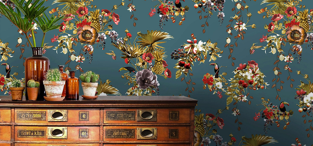 blue wallpaper with tropical print toucans made of non-woven paper