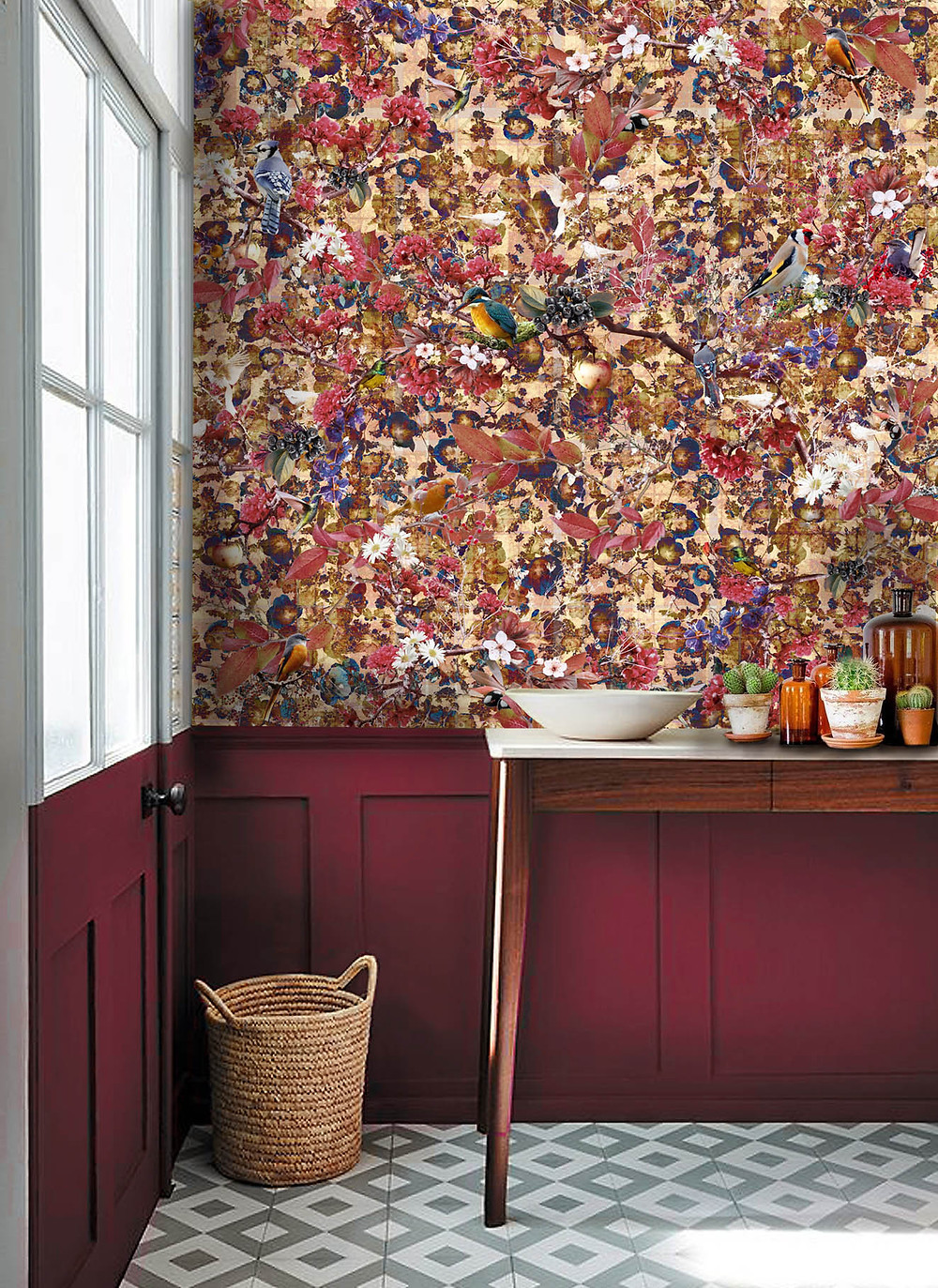 Wallpaper mural in hallway with floral bird print by Good and Craft and burgundy painted wall, Good & Craft