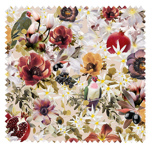 Fabric Sample - Fruits Blossom - Powder Dove