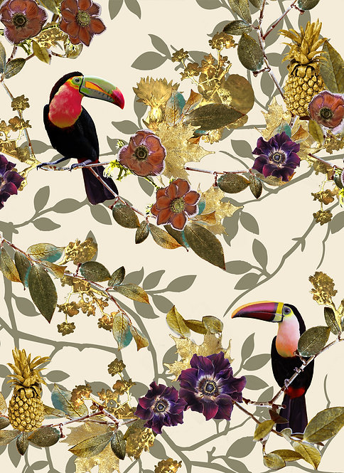 Toucan wallpaper print for tropical wallpaper by Good and Craft, Good & Craft