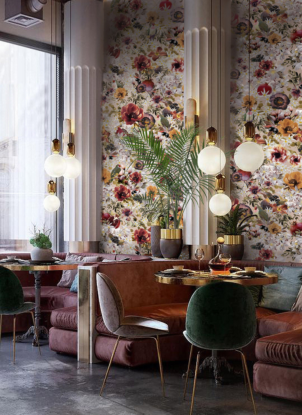 powder interior styling, restaurant with floral wallpaper