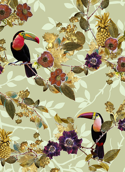 Toucan wallpaper print in light green for tropical wallpaper by Good and Craft, Good & Craft