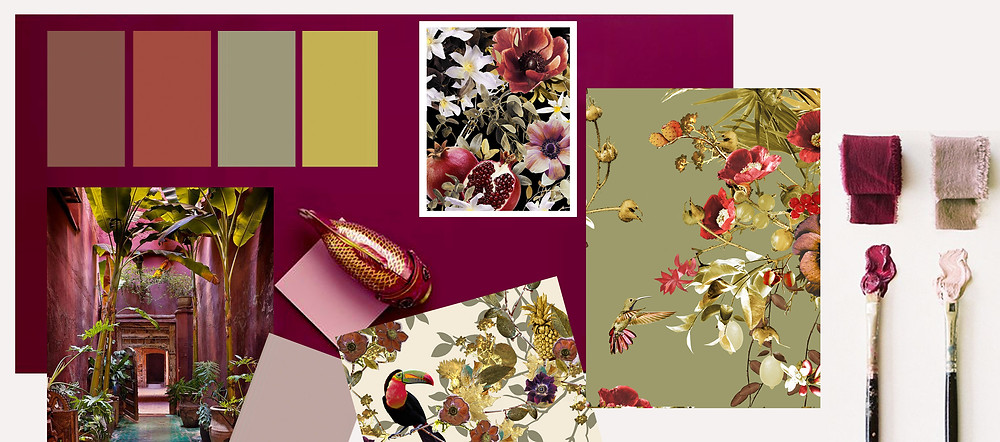 wallpaper samples with floral pattern by Good and Craft
