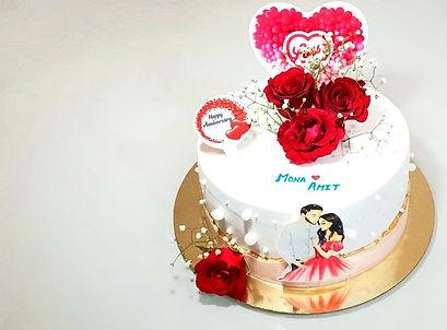 Real Flower Anniversary Cake
