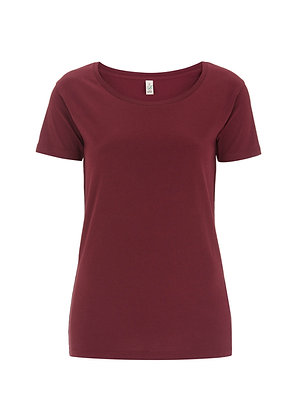 Bio Baumwolle Open Neck Burgundy