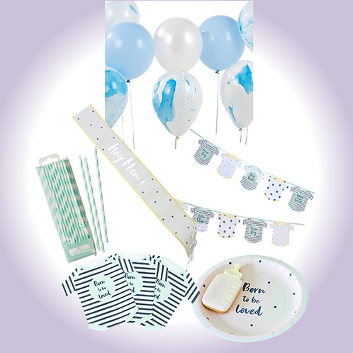 Teal Blue Baby Shower Party Pack