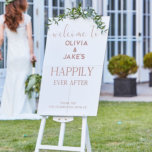 Rose Gold and White Personalised Wedding Welcome Sign