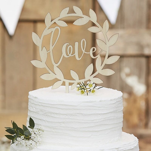 Wooden Love Wedding Cake Topper