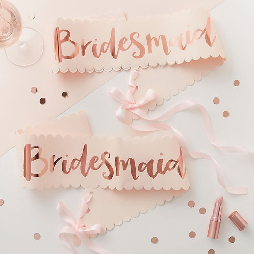 Rose Gold and Pink Bridesmaid Sash - 2 Pack