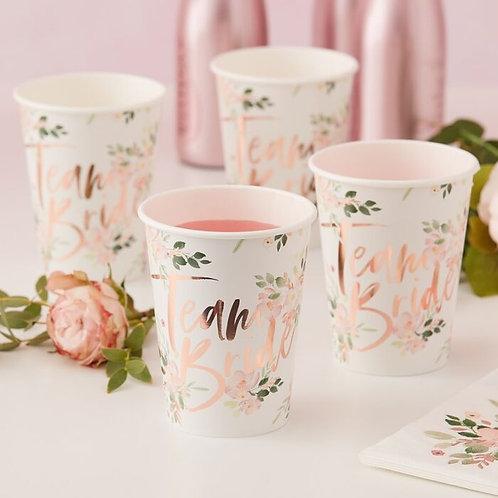 Team Bride Floral Hen Party Cups
