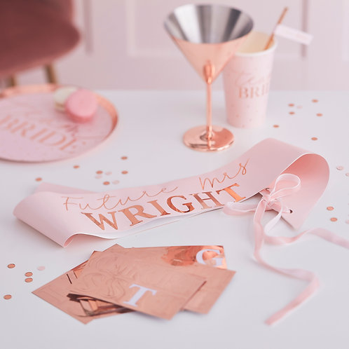 Rose Gold and Pink Personalised Hen Party Sash