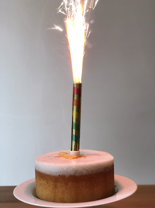 Rainbow Colour Changing Cake Fountain - 3 Candles