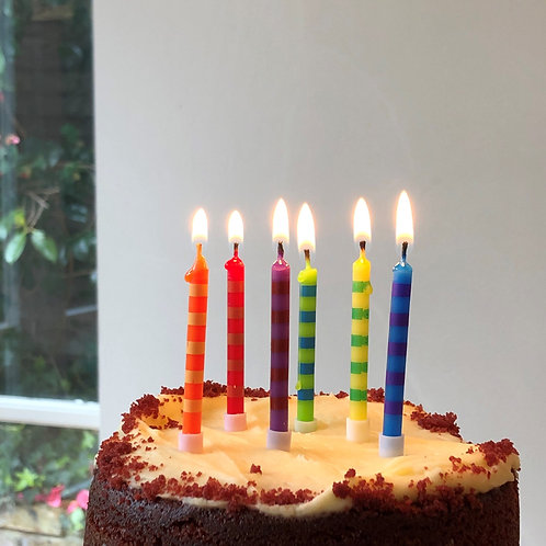 Colourful Striped Birthday Candles
