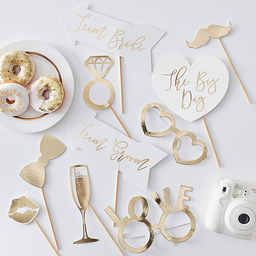 Gold Wedding Photo Booth Props