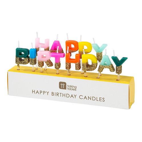 Rainbow Happy Birthday Candles
