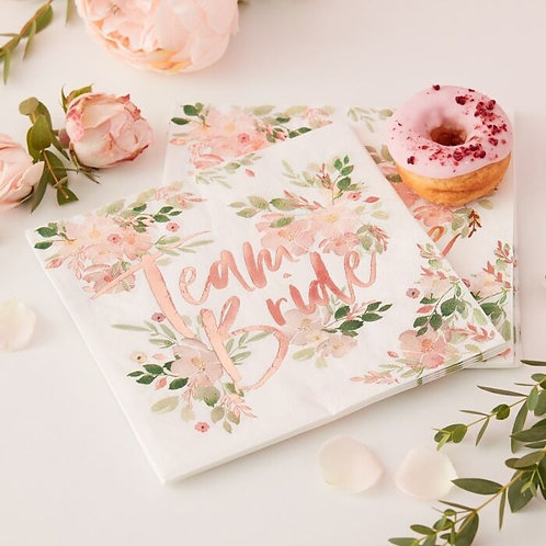 Team Bride Floral Hen Party Napkins