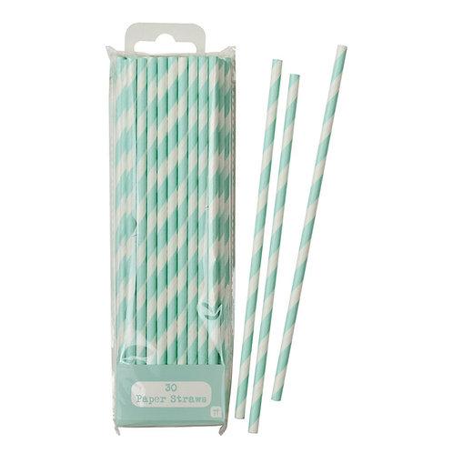 Mint Green Striped Straws