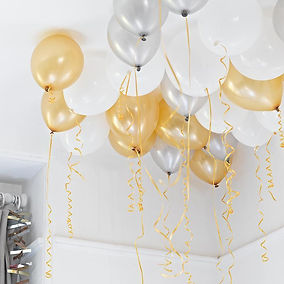 Gold Silver and White balloon assortment