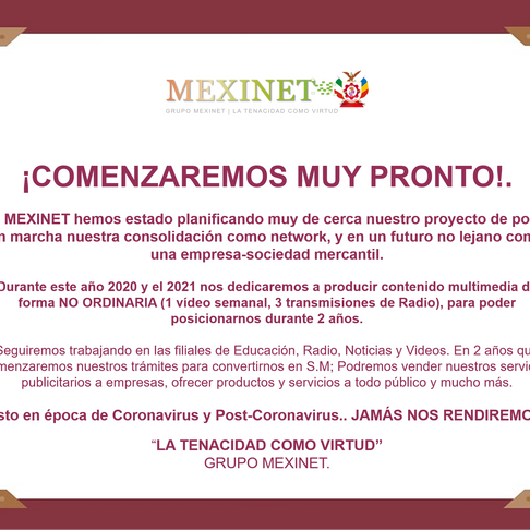 ACTIVIDADES PLANIFICADAS DE MEXINET.