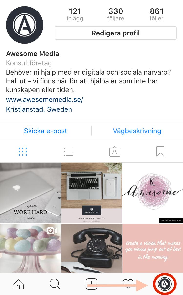 Spara inlägg på Instagram