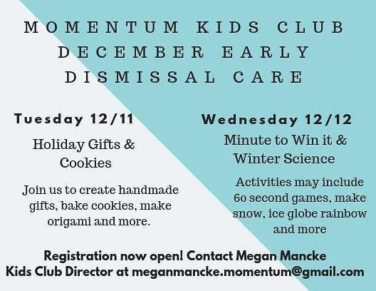 MOMentum Kids Club is offering early dis