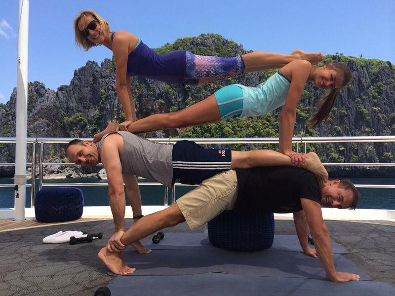 Acroyoga on a superyacht