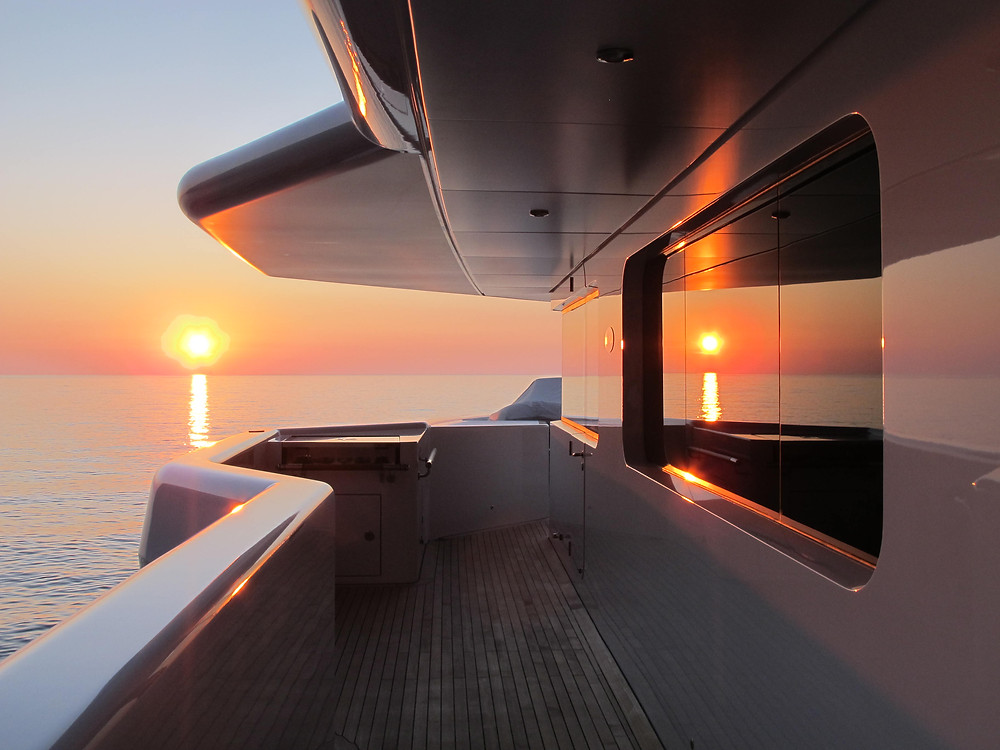 Sunset on anchor
