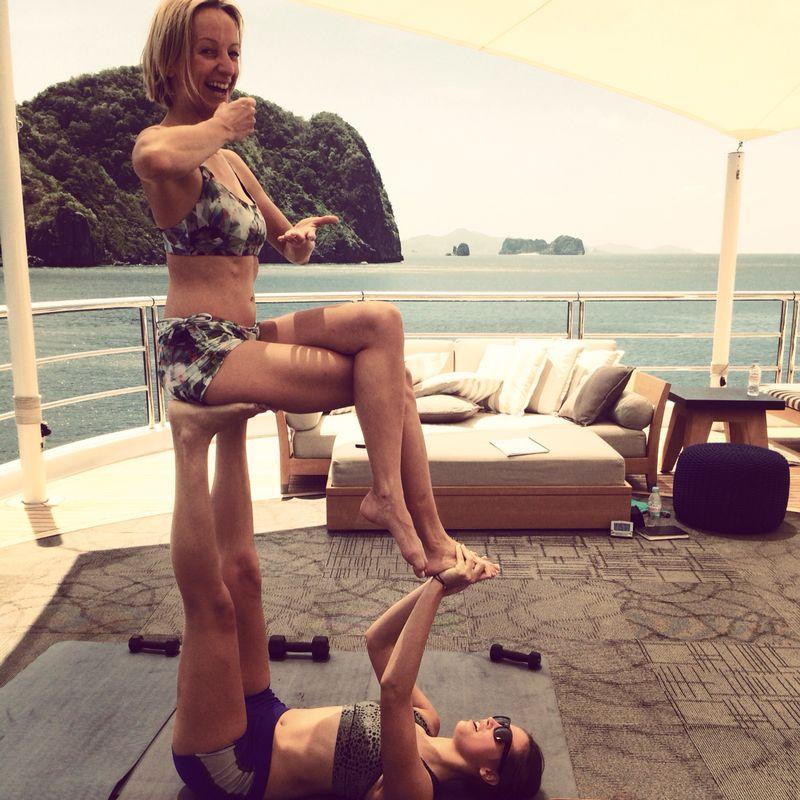 Superyacht acroyoga with Emmeline