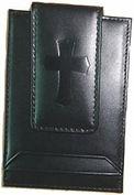 Men's Black Leather money clip