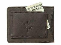 Men's Brown Leather money clip