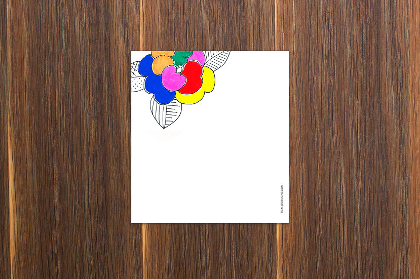 Neon Flower Notepad 5.5x6