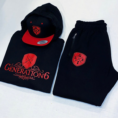 G6 Unisex Black/Red Trackset & Snapback