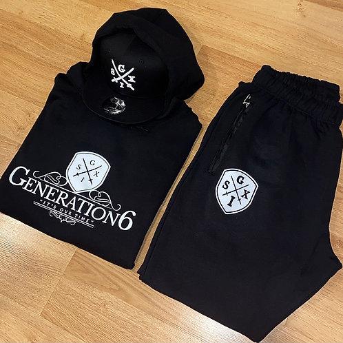 G6 Unisex  Black/White Trackset & Snapback