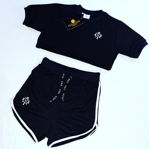 G6 Ladies Black/White CropTop+High waisted shorts