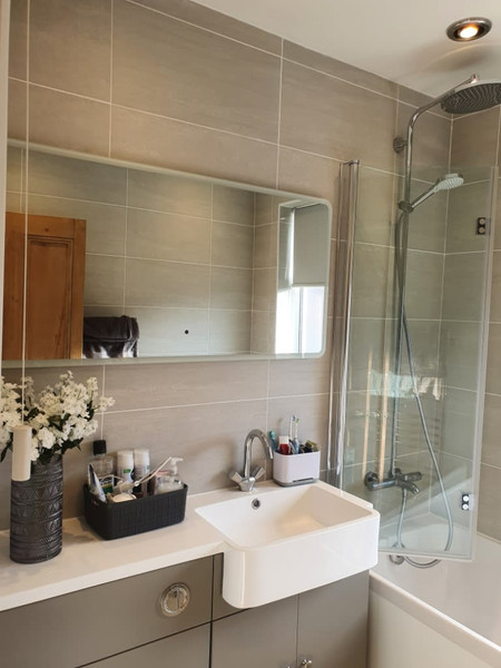 new bathroom with flowers