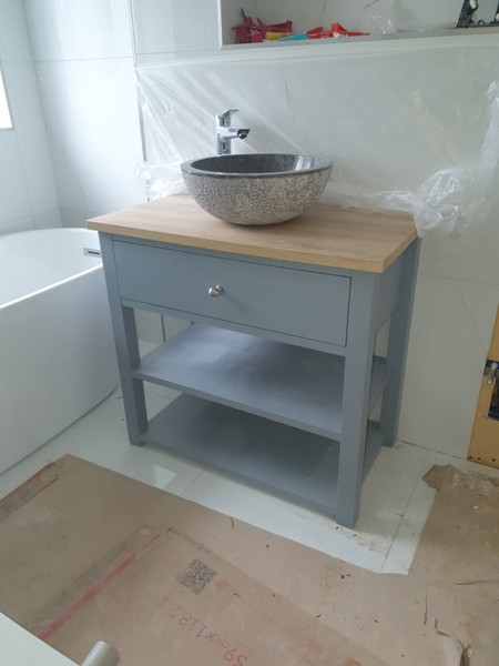 small grey bathroom drawers