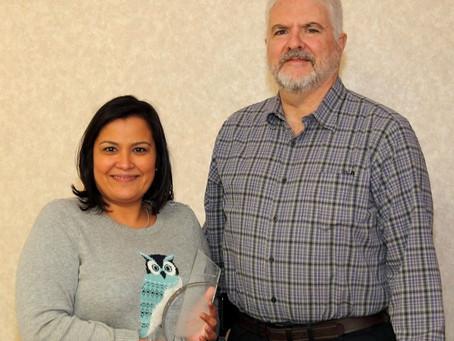 Aerodyne Industries LLC presents Texas President's Award to Melissa Borrego